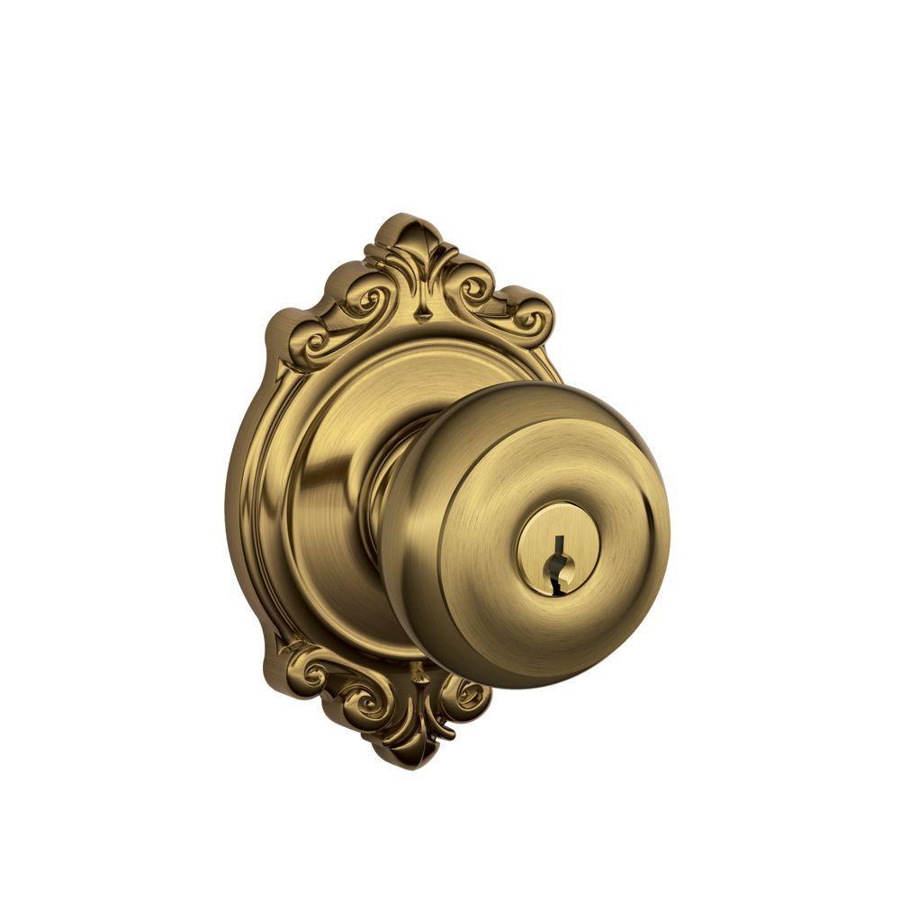 Brookshire Collection Antique Brass Georgian Keyed Entry Knob