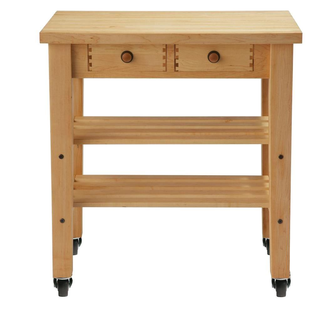 Null Maple Kitchen Cart With Shelf