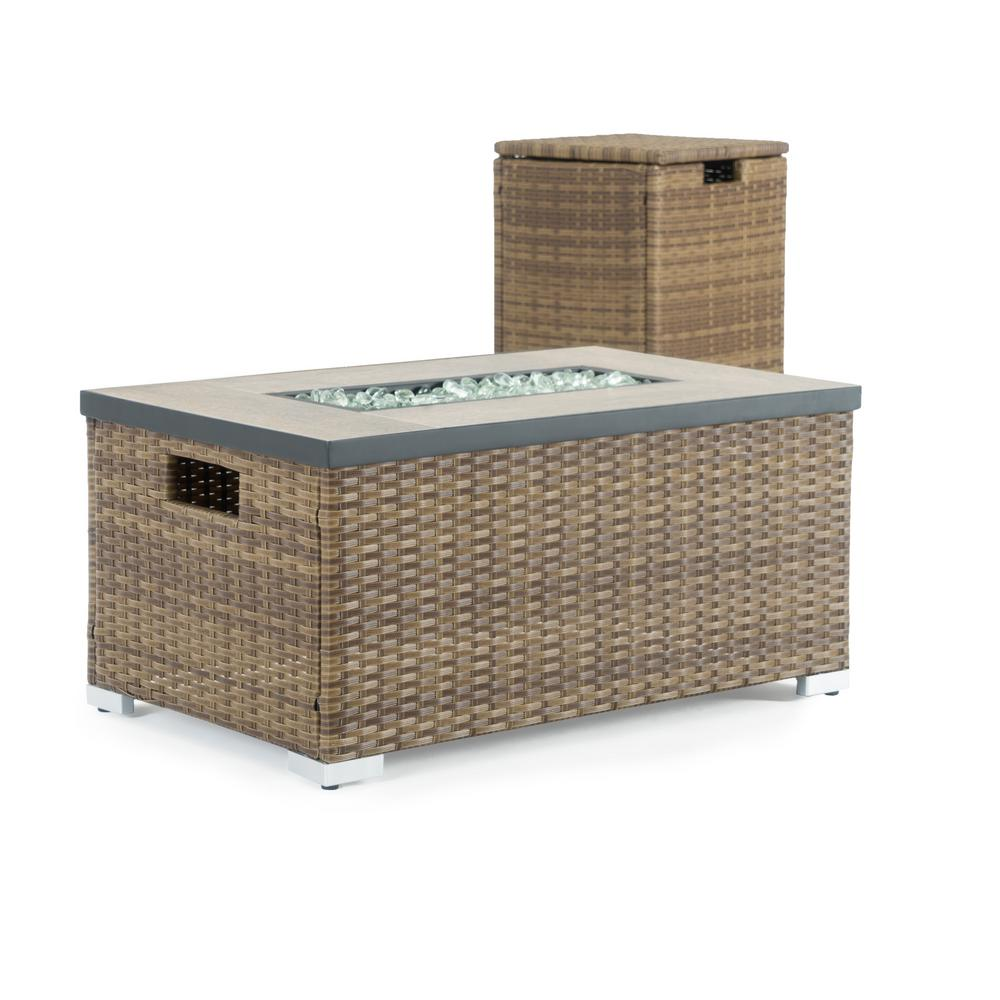 Sego Lily Cheyenne 32 in. x 16 in. Rectangular Wicker Propane Fire Pit Table in Brown with Propane Storage and Protective Cover