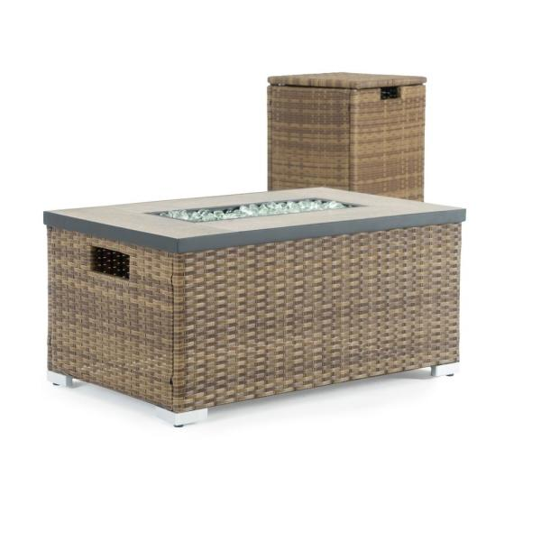 Cheyenne 32 in. x 16 in. Rectangular Wicker Propane Fire Pit Table in Brown with Propane Storage and Protective Cover