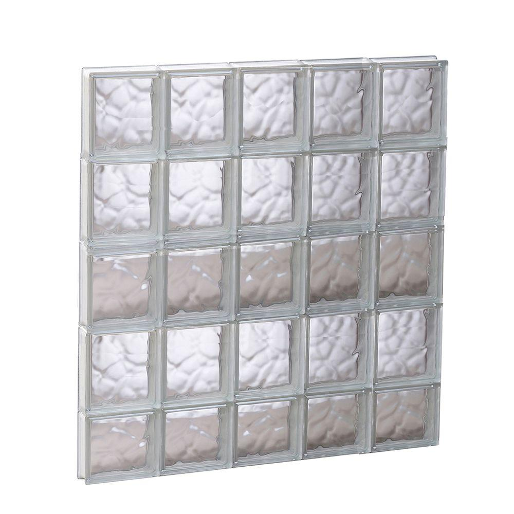 Clearly Secure 28.75 in. x 36.75 in. x 3.125 in. Frameless Wave Pattern Non-Vented Glass Block Window