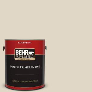 Behr Premium Plus 1 Gal Yl W13 Sentimental Beige Flat Exterior Paint And Primer In One 405001 The Home Depot
