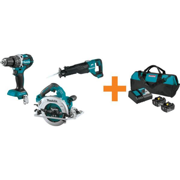 18V LXT 1/2 in. Brushless Hammer Driver-Drill, 18V X2 (36V) 7-1/4 in. Circ Saw and Recipro Saw w/ bonus 18V Starter Pack