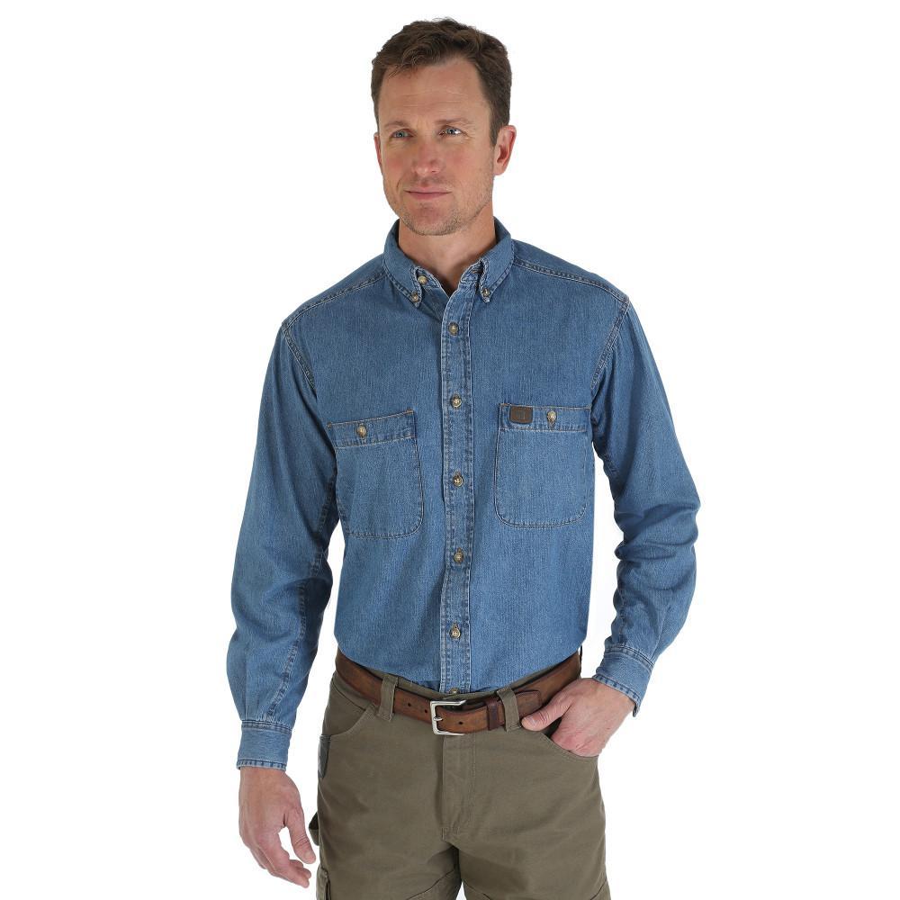 Men's Size Large Tall Antique Denim Work Shirt