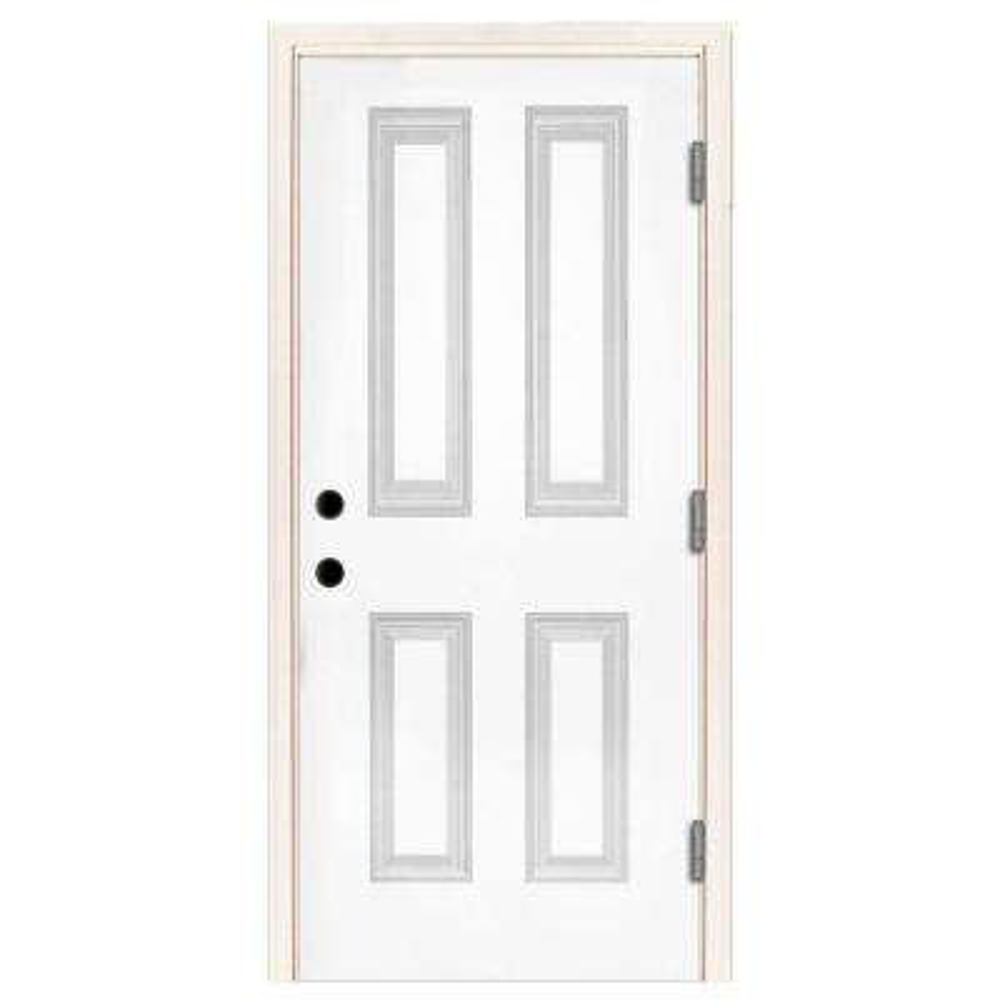 Premium 4-Panel Primed White Steel Prehung Front Door