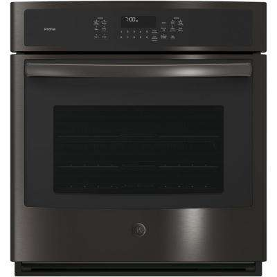 Profile 27 in. Single Electric Smart Wall Oven Self-Cleaning with Steam Plus Convection in Black Stainless Steel