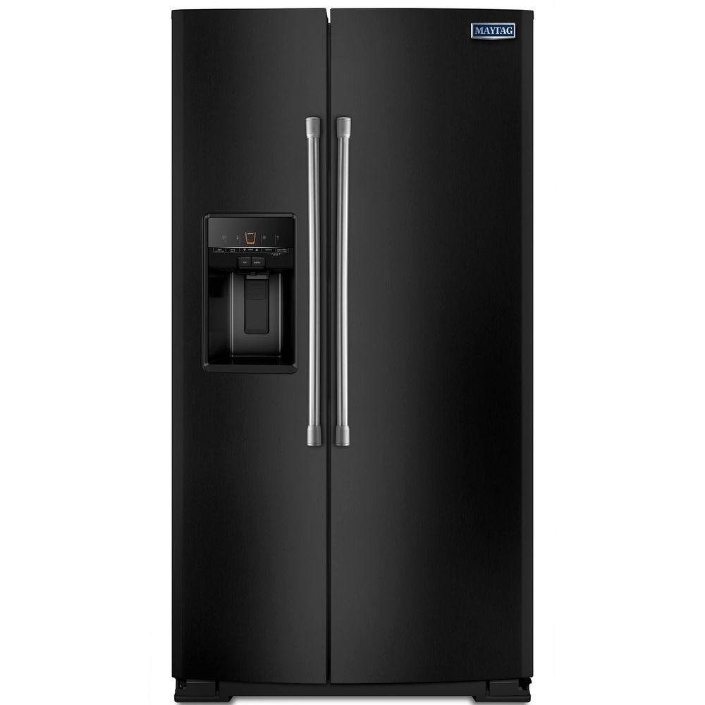 Maytag 25.6 cu. ft. Side by Side Refrigerator in Black with Stainless Steel Handles