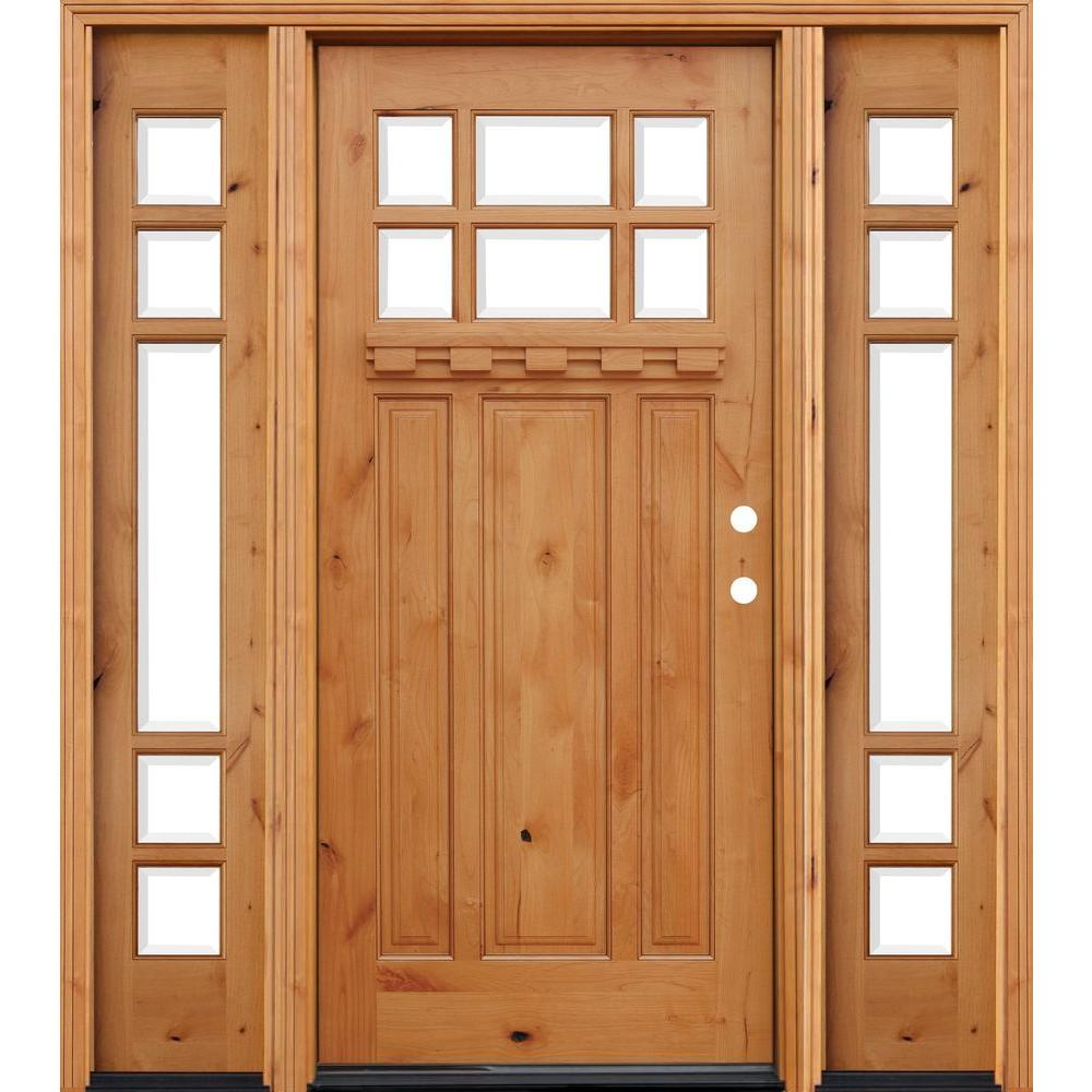 Pacific Entries 72 in. x 80 in. Craftsman Rustic 6 Lite Stained ...