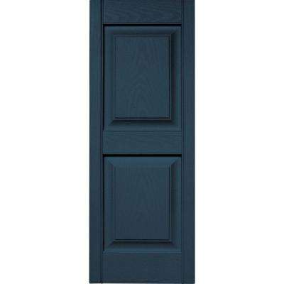 15 in. x 39 in. Raised Panel Vinyl Exterior Shutters Pair in #036 Classic Blue