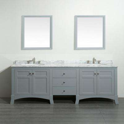 New York 72 in. W x 22 in. D x 34 in. H Vanity in Grey with Carrara Marble Vanity Top in White with White Basin