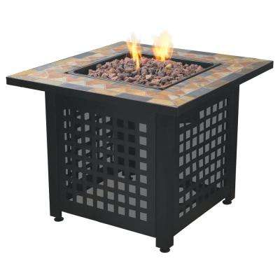 Propane Powered Square Outdoor Patio Firetable with Lava Rocks