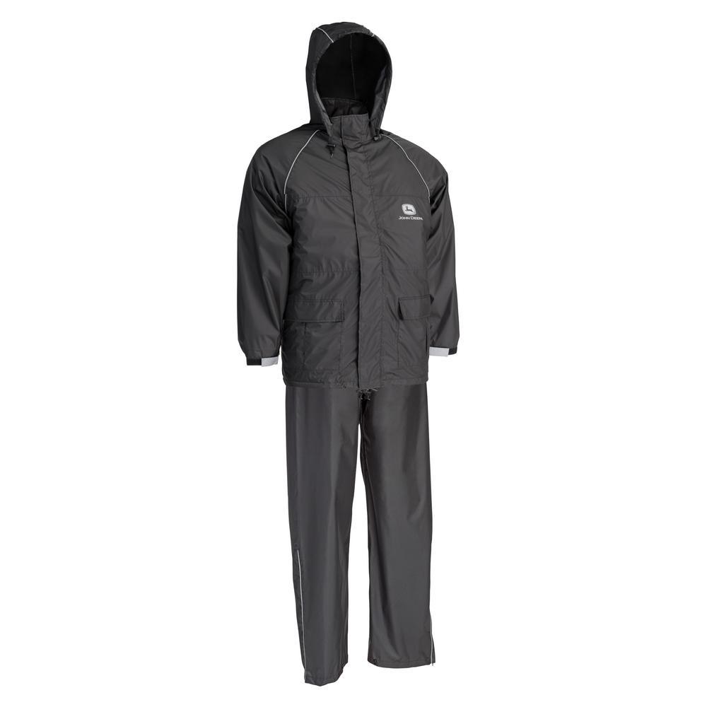 John Deere Black Lightweight 2 Piece Rain Suit Size Large-JD44520 L ... 39f4a6b33c0a