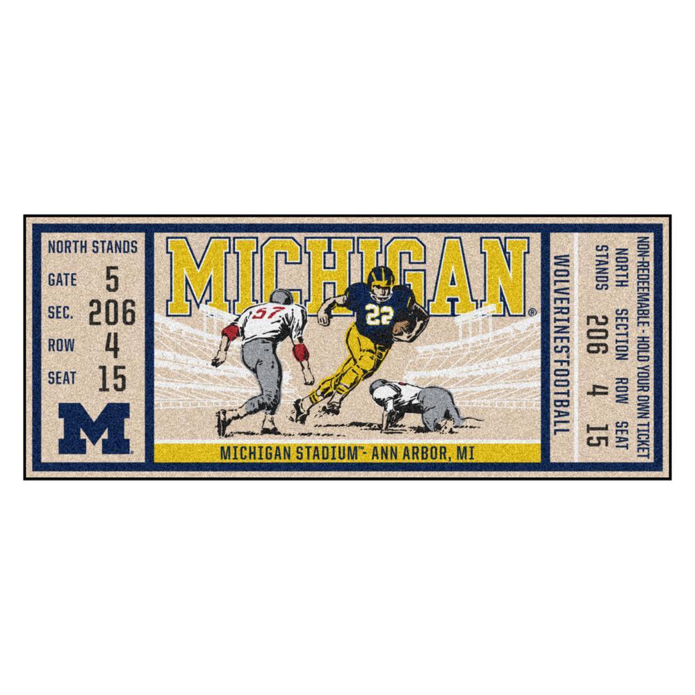 NCAA University of Michigan 30 in. x 72 in. Indoor Ticket Runner Rug