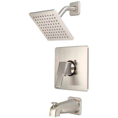 i3 1-Handle Wall Mount Tub and Shower Trim Kit in Brushed Nickel with 6 in. Sqaure Showerhead (Valve Not Included)