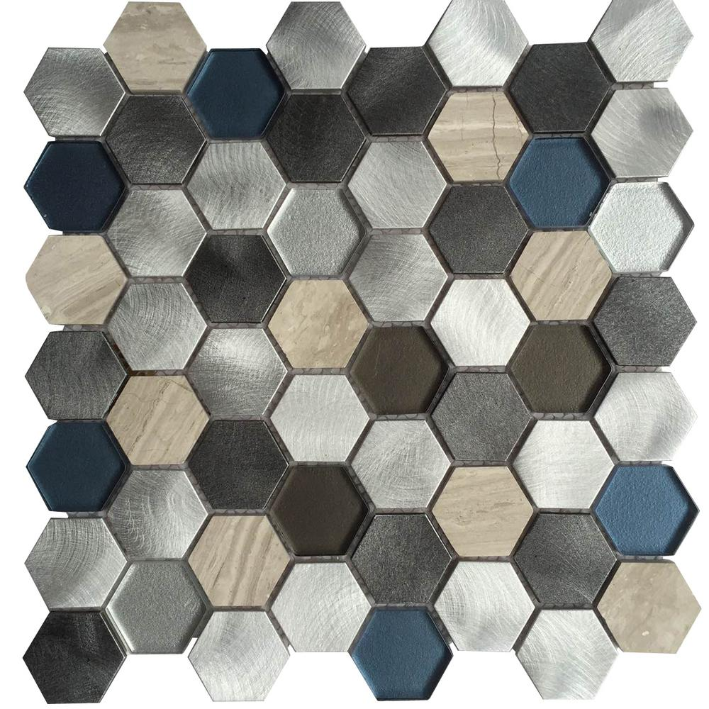 Chenx 11 81 In X 12 40 8 Mm Aluminum Metal Gl Stone Backsplash