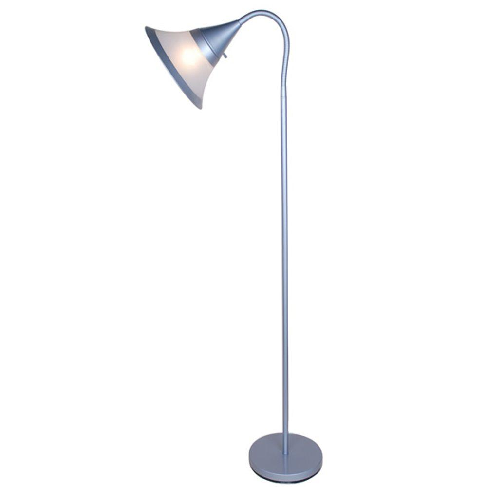 Silver Gooseneck Floor Lamp With White And Plastic Shade