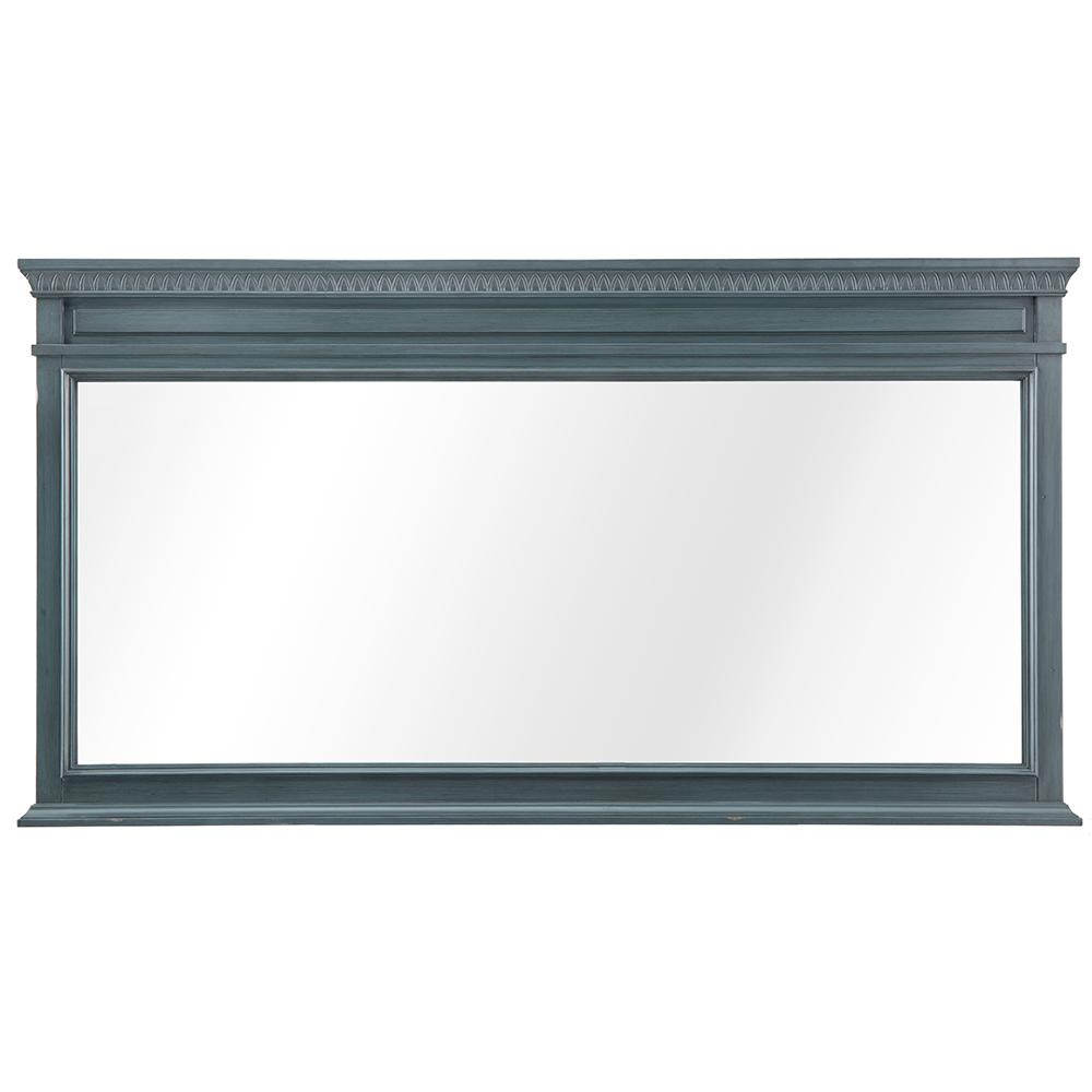 Home Decorators Collection Cailla 60 in. W x 32 in. D Framed Wall Mirror in Distressed Blue Fog