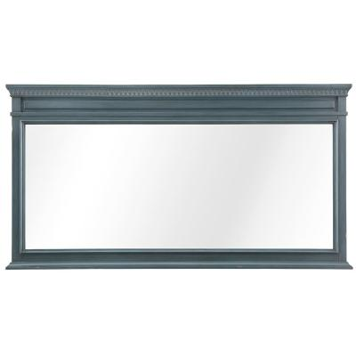 60 in. W x 32 in. H Framed Rectangular  Bathroom Vanity Mirror in Distressed Blue Fog