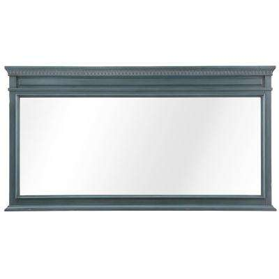 Cailla 60 in. W x 32 in. D Framed Wall Mirror in Distressed Blue Fog