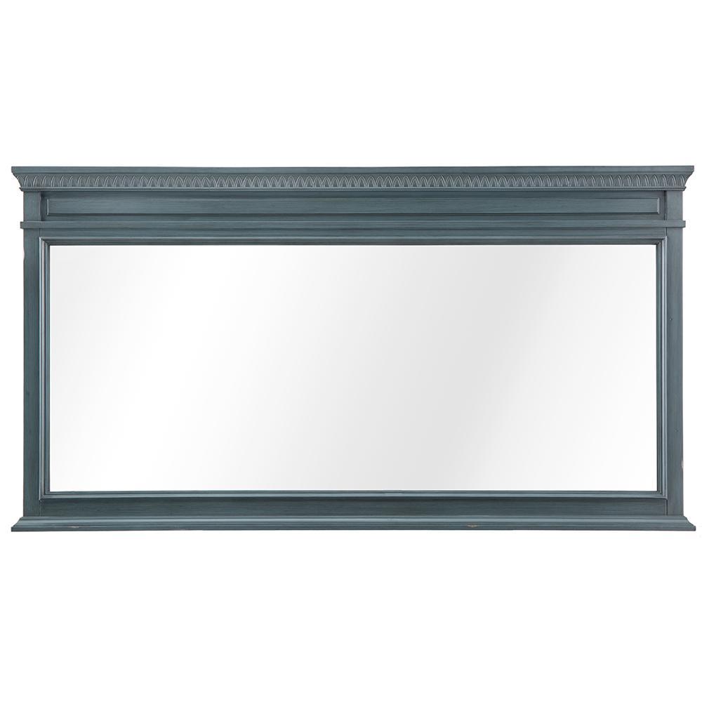 60 in. W x 32 in. H Framed Rectangular  Bathroom Vanity Mirror in Distressed Blue Fog