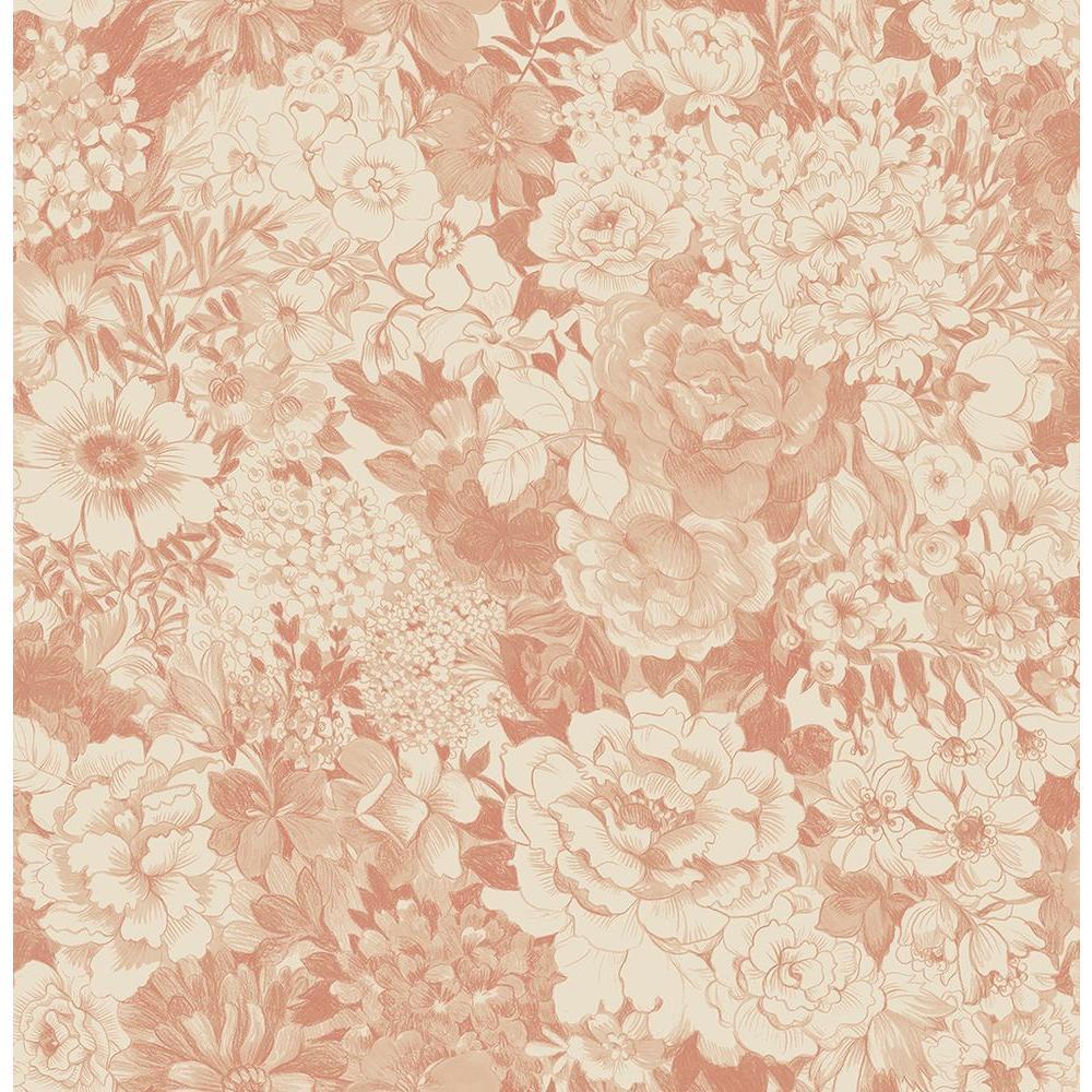 Brewster dodge peach floral wallpaper sample 2686 21716sam for Wallpaper samples