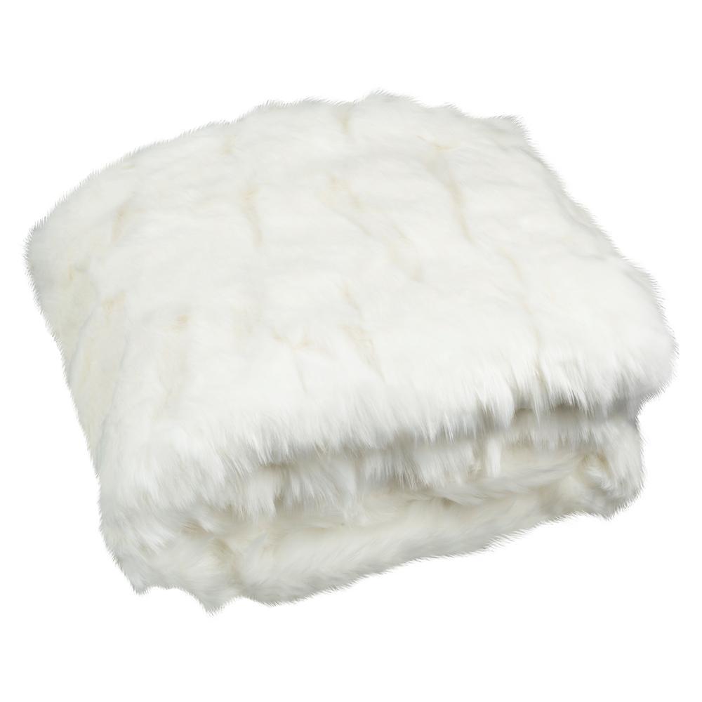 Textured Snow White Throw Blanket