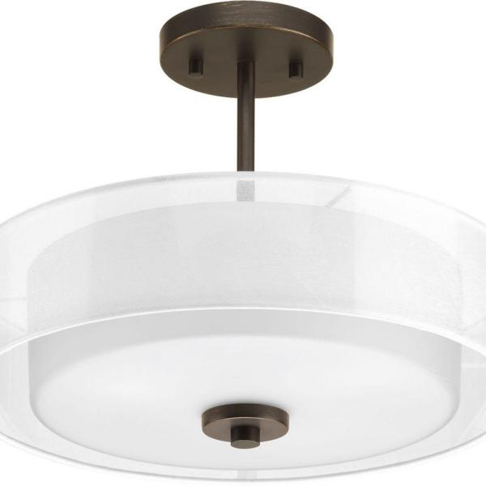Invite Collection 3-Light Antique Bronze Semi-Flush Mount Light