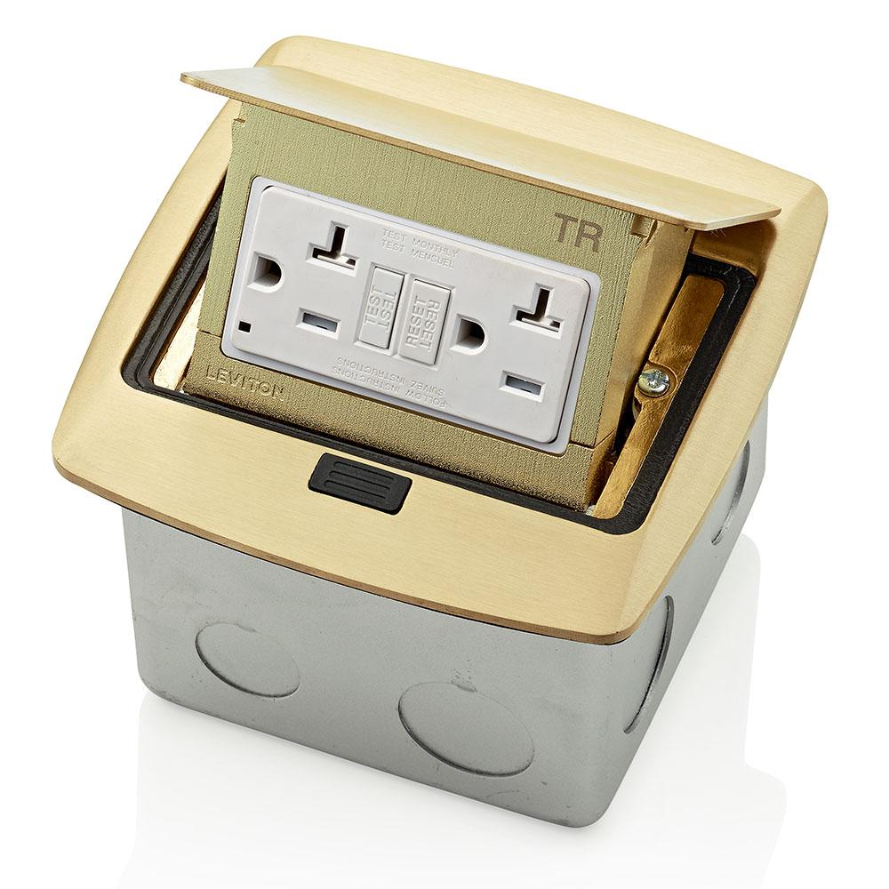 Leviton Pop Up Floor Box With 20 Amp Tamper Resistant Self Test Gfci Outlet Brass Pfgf2 Br The Home Depot