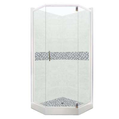Del Mar Grand Hinged 36 in. x 36 in. x 80 in. Neo-Angle Shower Kit in Natural Buff and Satin Nickel Hardware