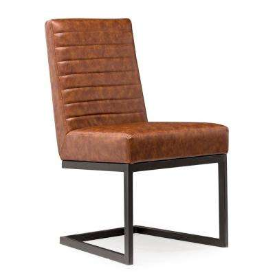 Austin Brown Black Leather Chair (Set of 2)