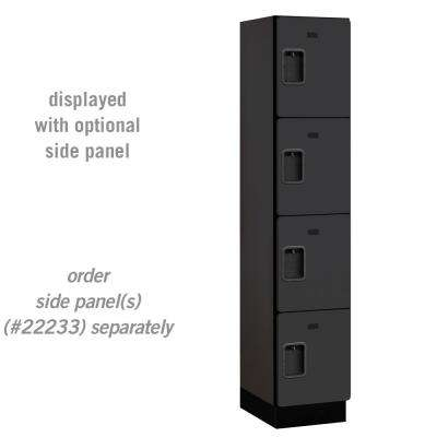24000 Series 4 Tier 18 in. D Compartments Extra Wide Designer Wood Locker in Black