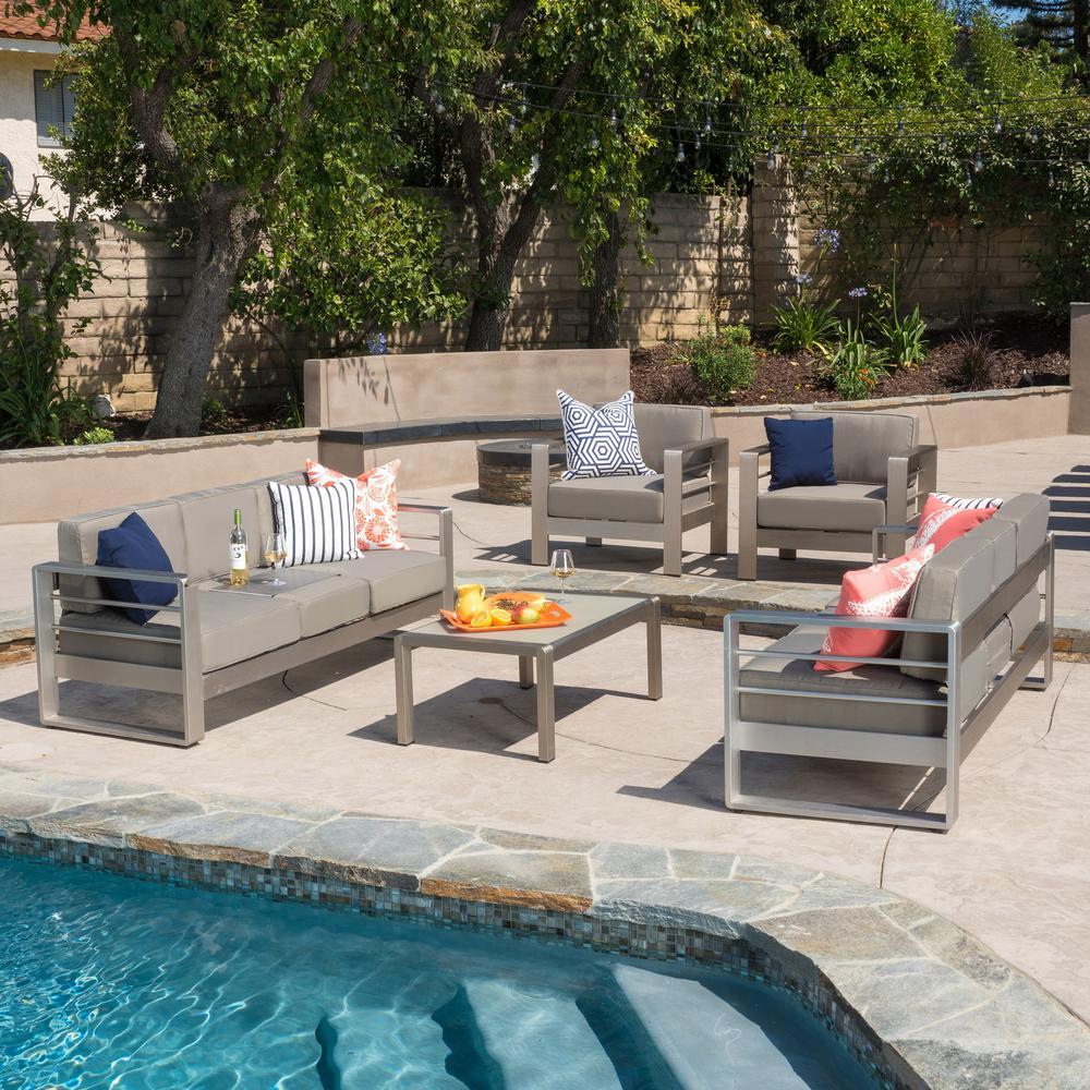 Cape Coral Sliver 5-Piece Aluminum Patio Conversation Set with Khaki Cushions