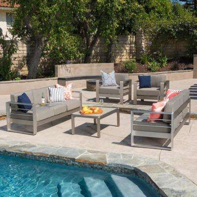Cape Coral Sliver 5-Piece Aluminum Patio Conversation Set with Khaki Cushions