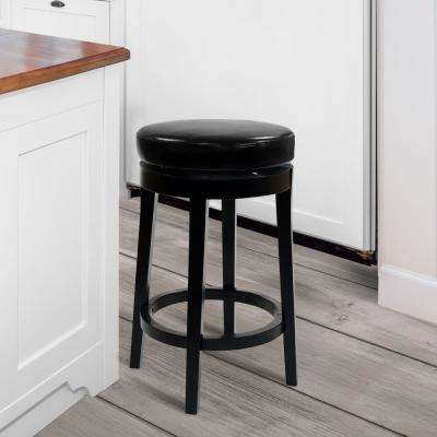 MBS-450 26 in. Black Bonded Leather and Black Wood Finish Backless Swivel Barstool