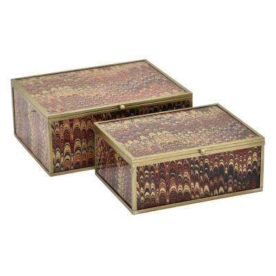 3.75 in. Metal/Glass Box in Brown (Set of 2)
