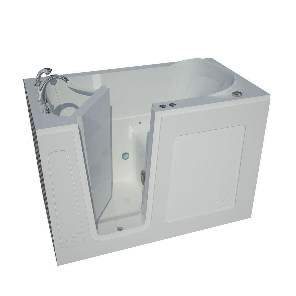 4.5 ft. Left Drain Walk-In Whirlpool Air Bath Tub in White