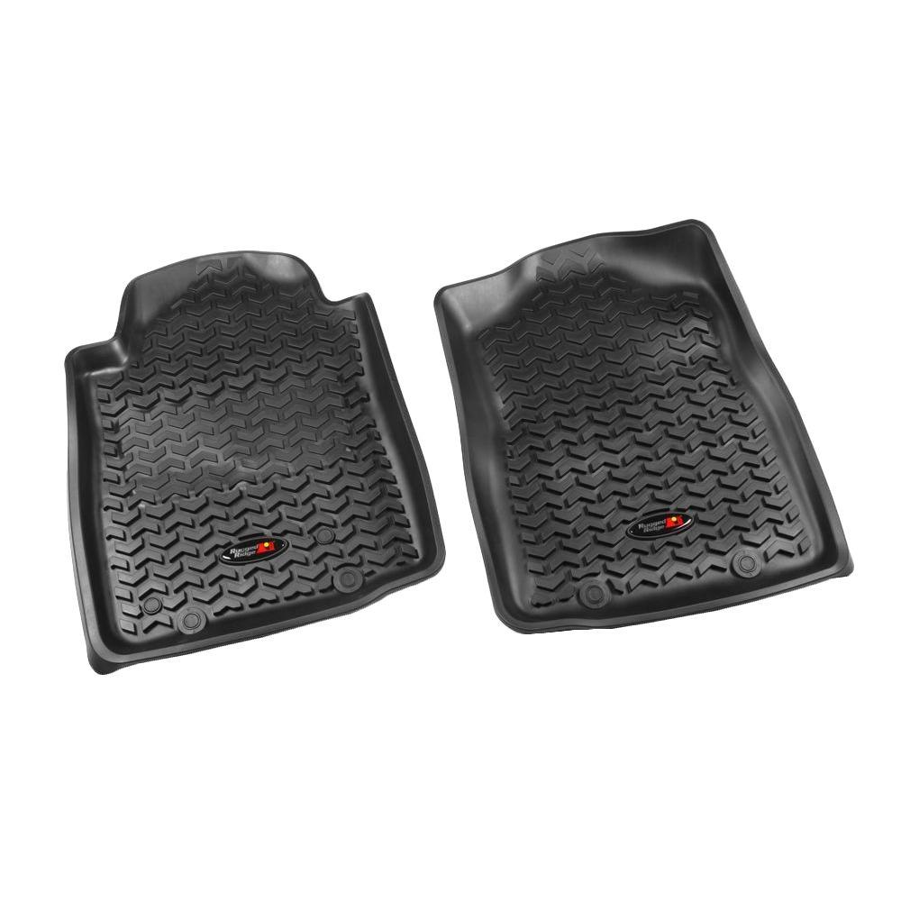 Rugged Ridge Floor Liner Front Pair Black 2012-2013 Toyota Tacoma Automatic