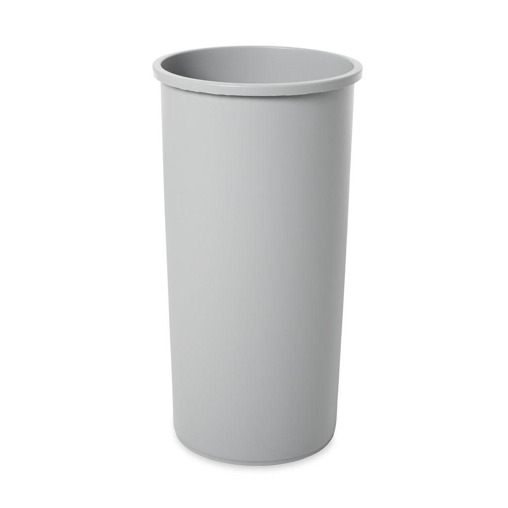 Untouchable 22 Gal. Grey Round Trash Can, Gray