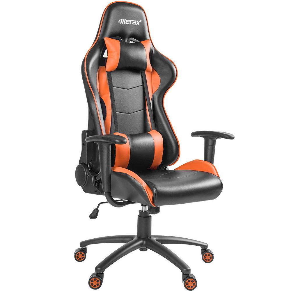 Orange High Back office Chair with Lumbar Support and Headrest