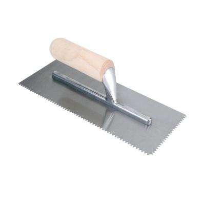 11 in. x 1/4 in. x 3/16 in. V-Notch Pro Flooring Trowel with Wood Handle