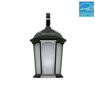 Black Outdoor Integrated LED Wall Mount Lantern in Soft White