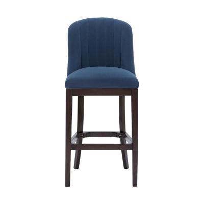 Ingram Upholstered Bar Stool with Channel Tufted Back and Midnight Blue Seat (20 in. W x 45.28 in. H)