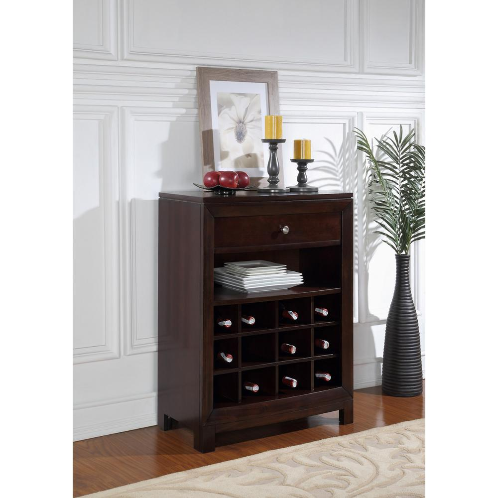 12-Bottle Dark Brown Wood Bar Cabinet