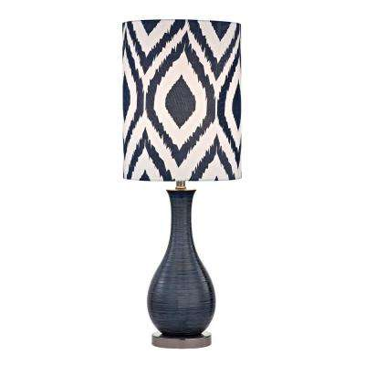24 in. Navy Blue Textured Ceramic Accent Lamp with Printed Shade