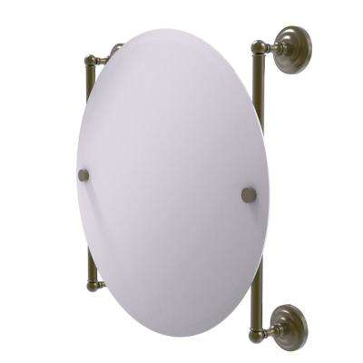 Que New Collection Round Frameless Rail Mounted Mirror in Antique Brass