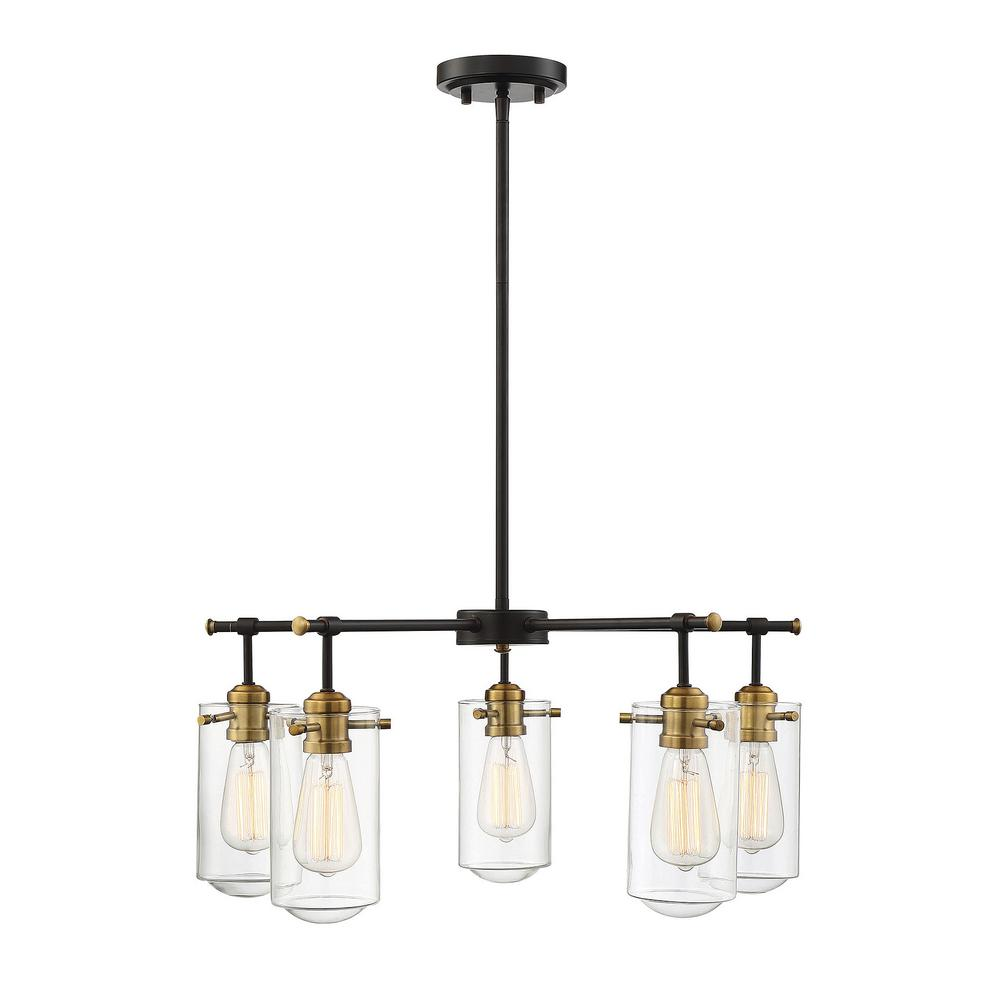 Filament Design 5-Light English Bronze and Warm Brass Chandelier with Clear Glass