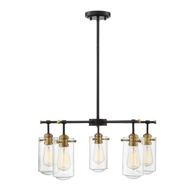 5-Light English Bronze and Warm Brass Chandelier with Clear Glass