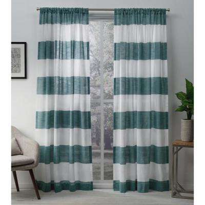 Darma 50 in. W x 108 in. L Sheer Rod Pocket Top Curtain Panel in Teal (2 Panels)
