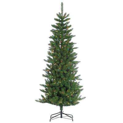 7 ft. Pre-Lit Narrow Augusta Pine Artificial Christmas Tree with Multi Lights