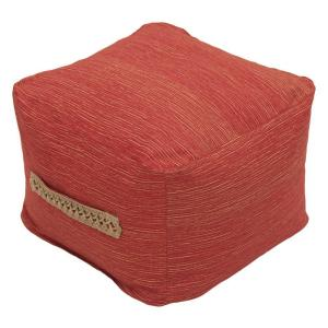 Vero Chili Square Outdoor Pouf Ottoman with Decorative Handle